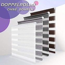 Allesin Doppelrollo Duo Rollo Klemmfix ohne Bohren, Rollo für Fenster und Tür, Seitenzugrollo Easyfix, lichtdurchlässig und verdunkelnd, sichtschutz und Sonnenschutz, 110 x 230 cm Weiß