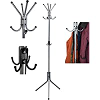 Harbour Housewares 12 Hook Coat / Hat / Scarf Stand. Steel Construction. Silver