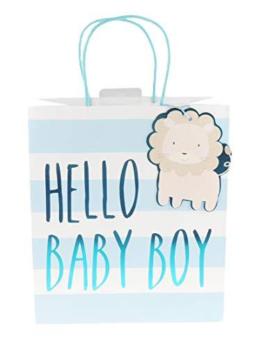 (Geschenktüte für Babypartys, gestreift, Hellblau, Größe L)