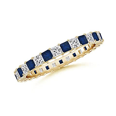Shared Prong Square Sapphire and Diamond Eternity Band in 14K Yellow Gold (1.8mm Blue Sapphire)