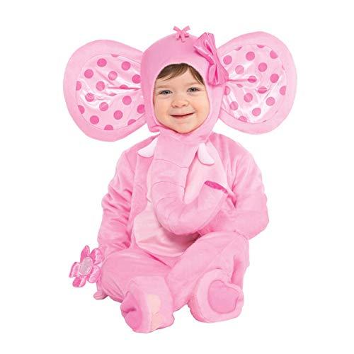 amscan 847260-55 Kinderkostüm Süßer Elefant, rosa, 12-24 Monate