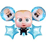 HK balloons® Boss Baby Themed Foil Balloon Bouquet (Set of 5) Theme Party Supplies (Boss-Baby Themed)