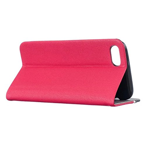 iPhone Case Cover Haute Qualité authentique de cas réel en cuir, solide portefeuille de couleur stand pour Apple iPhone7 ( Color : White , Size : IPhone 7 ) Red