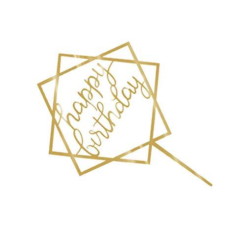 fish Alles Gute zum Geburtstag Kuchen-Deckel Acryl Gold-Funkeln DIY Glitzer-Kuchen-Kuchen-Smash-Kerze-Partei-Handmade-Stick (Gold-kuchen-deckel)
