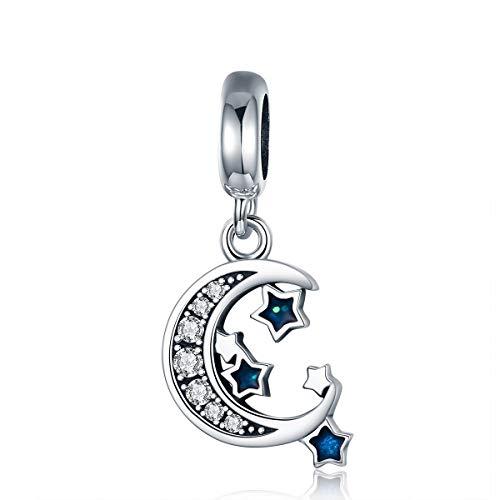 FeatherWish Charm-Anhänger Sterling-Silber 925 Mond und Stern Zirkonia für Pandora-Armband (Stern Charm Für Pandora Armband)