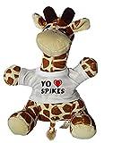 Shopzeus Jirafa de Peluche (Juguete) con Amo Spikes en la Camiseta (Nombre de Pila/Apellido/Apodo)