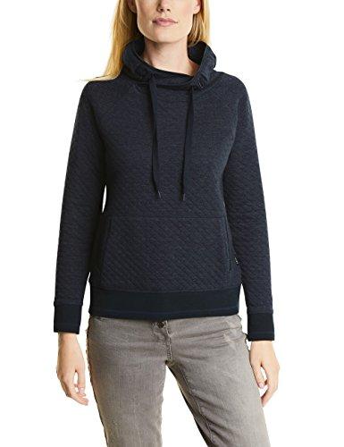 CECIL Damen Sweatshirt Madita, Blau (Deep Blue Melange 20157), XX-Large (Pullover Long Schalkragen)