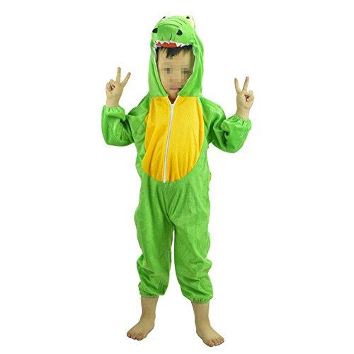 (SpringPear Grün Dinosaurier Kostüme für Kinder (100 - 120cm) Tier Siamesische Kleidung Party Weihnachten Halloween Karneval Flanell Baby Cosplay Bekleidung Tanzkostüme)