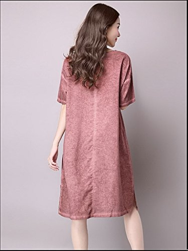 Bigood Femme Robe Chemise Coton Lin Imprimée Papillon Loose Rouge