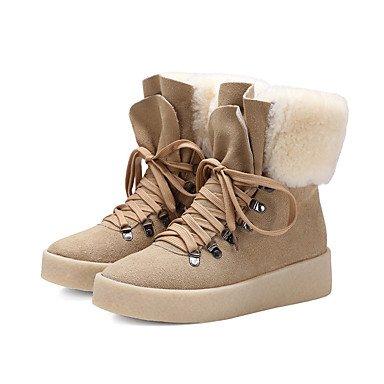 RTRY Scarpe Da Donna In Pelle Di Nappa Winter Snow Boots Fashion Stivali Stivali Tacco Piatto Babbucce/Stivaletti Di Abbigliamento Casual Cammello Nero Beige US6.5-7 / EU37 / UK4.5-5 / CN37