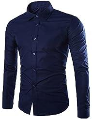Hommes Chemise d'Affaires Classique Manches Longues Couleur Pleine (sans cravate)