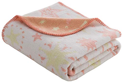 Babydecke/Kuscheldecke für Babys, kuschelig weich, Baumwollmischgewebe, 100x120 cm, Lachsfarben/Gelb - Sterne (Baby Gelbe Kuscheldecke)