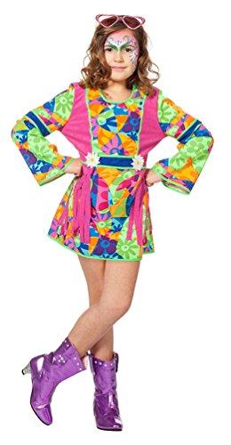 Karneval-Klamotten Hippie Kleid Kostüm Mädchen Flower-Power Kostüm Kinder Peace Kleid Blumen Mädchen-Kostüm Größe 116