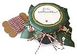 25 Marmeladendeckchen | Frohe Weihnachten! | Gläserdeckchen grün für Marmelade, Marmeladengläser & Einmachgläser | Recyclingpapier Abreißblock + 10 m Garn + Justiergummi | Blumen & Tannenzweige