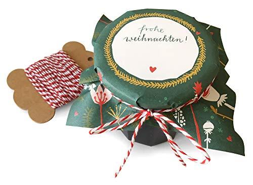 25 Marmeladendeckchen - Frohe Weihnachten - Gläserdeckchen grün für Marmelade, Marmeladengläser & Einmachgläser, Recyclingpapier Abreißblock + 10 m Garn + Justiergummi, Blumen & Tannenzweige
