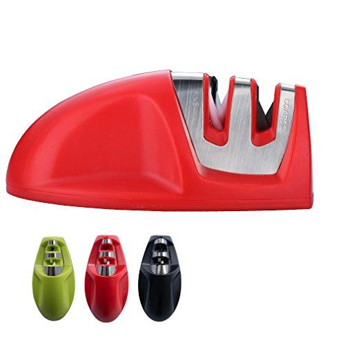 Ichcraft Messerschärfer Maus Messerschleifer mit 2 Stufen für Küche Vorschliff und Feinschliff 102*52*43mm (rot)