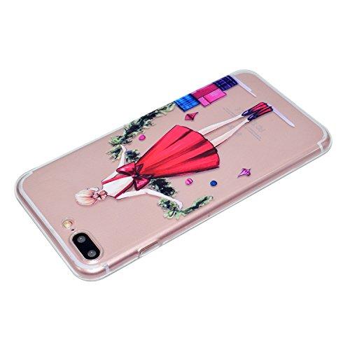 iPhone 7 Plus 5.5 Hülle, Voguecase Silikon Schutzhülle / Case / Cover / Hülle / TPU Gel Skin für Apple iPhone 7 Plus 5.5(Wellenpunkt Mädchen) + Gratis Universal Eingabestift Rotes Kleid Mädchen 03
