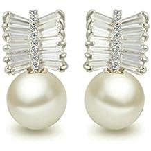 Daesar Joyería Pendientes de Oro, Aretes para Mujer Pendiente del Perno Prisionero Brillantes Blanca Circonita Zarcillo Arillo Concha Redondo Perla