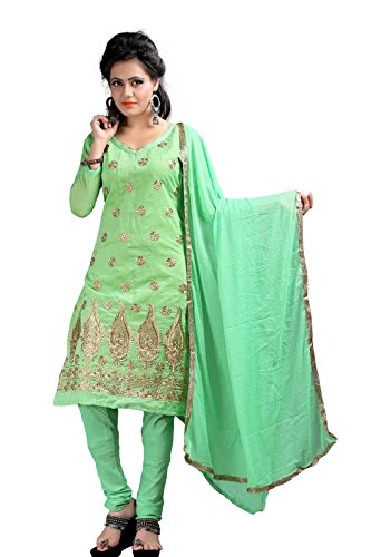 I-Brand Perrot Color Chanderi Fabric Embroideried Salwar - Suit (Semi-Stitched) ( New Arrival Latest Best Design Beautiful Dresses Material Collection For Women and Girl Party wear Festival wear Special Function Events Wear In Low Price With High Demand Todays Special Offer and Deals with Fancy Designer and Bollywood Collection 2017 Punjabi Anarkali Chudidar Patialas Plazo pattern Suits )  available at amazon for Rs.367