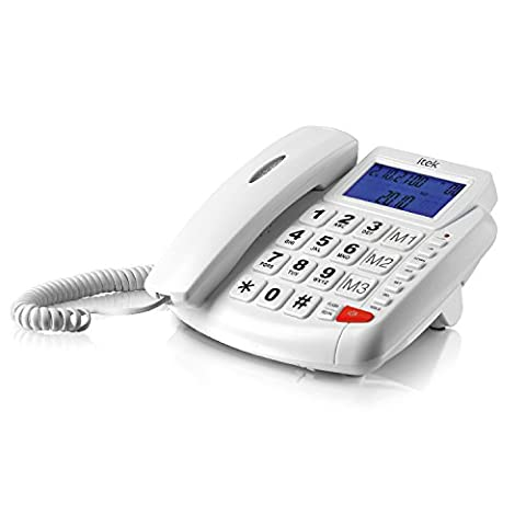 Itek I62002 Big Button LCD Hands-Free Telephone with One-Touch Memory System - White