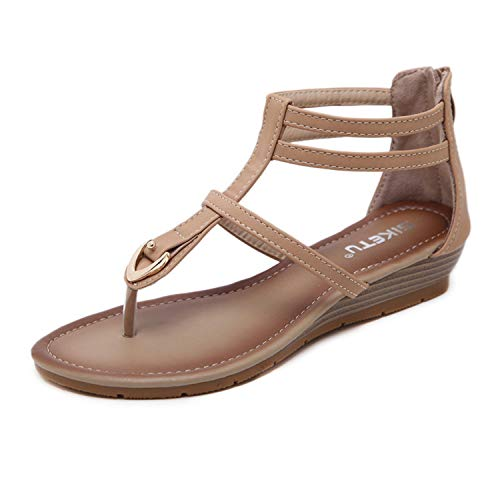 New PU Leather Shoes Roman Wedges Sandals Women Novelty Sandals Large Size Women Shoes Sandalias Zapatos Mujer Khaki 5