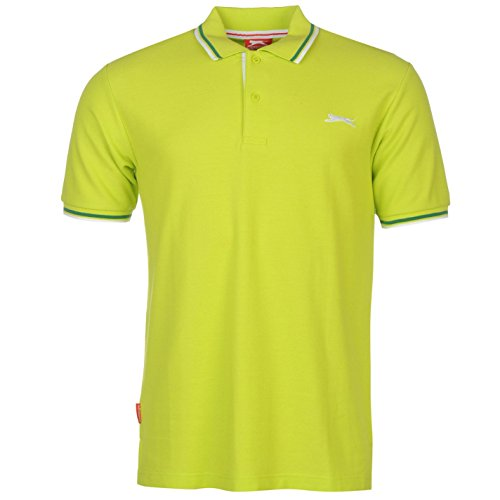Slazenger Herren Tipped Polo Shirt Passform Klassisch Grün Grün UK Large -
