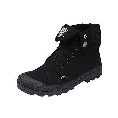 S&H-NEEDRA Mode Frauen Flache Lace-Up High-Top Militär Knöchel Casual Canvas Damen Schuhe