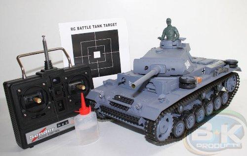Unbekannt RC Panzer Panzerkampfwagen III ferngesteuerter Kampfpanzer Schuß Sound Schußfunktion-Rauchfunktion-Sound 1:16 - 1/2 Meter lang