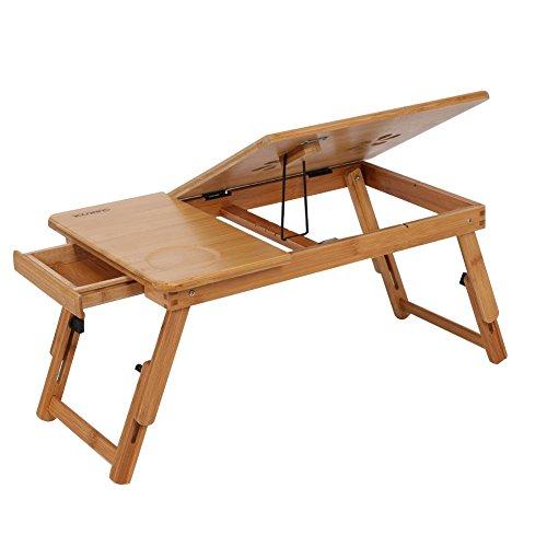 1Pcs Escritorio de Cama de Bambú, Patas Ajustables de la Mesa, Antideslizante, fácil de Disipar Calor