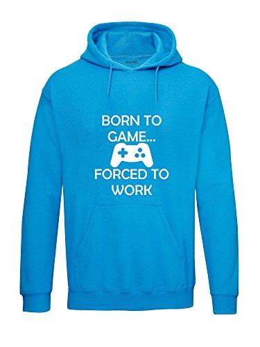 Born to Game…, Felpa con cappuccio per adulti, Blu zaffiro/Bianca, M=96/101cm