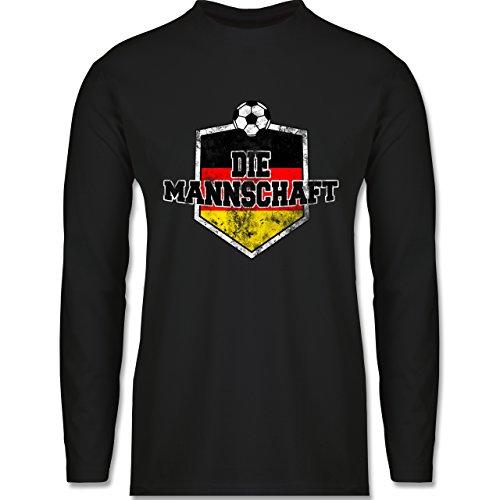 Shirtracer Fußball-WM 2018 - Russland - Deutschland- Die Mannschaft Vintage - Herren Langarmshirt Schwarz
