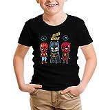 T-Shirt Enfant Noir Avengers parodique Batman, Deadpool et Spider-Man : Un léger problème de Conception au Niveau du Masque. (Parodie Avengers)