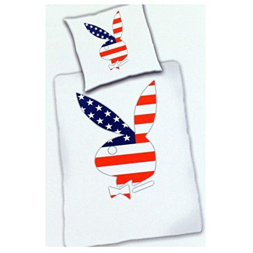 Bettwäsche Playboy Home American Flag Microfaser Bezug 135x200cm Kissen 80x80cm mit Reißverschluss 100%Polyester