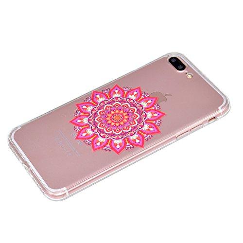 Custodia per iPhone 7 4.7 Gomma Trasparente,Girlyard Elegante Belle Disegno Cover in TPU Gel Ultra Ultra-Sottile Slim Anti-urto Coperture Protettiva Custodia per iPhone 7 4.7 con Protezione Pellicol Mandala