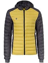 Izas Lidon - Chaqueta fibra para hombre, color gris oscuro / amarillo, talla XL