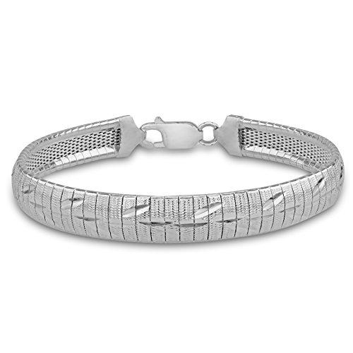 Tuscany Silver Armband Sterling Silber Blatt Gemustert 19cm/7.5zoll