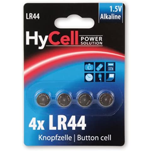 HYCELL 1516-0024 - Juego de pila de botón alcalina 4x LR44 1,5V, V13GA, LR44/A76
