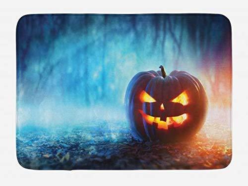 vcbndfcjnd Halloween Bath Mat, Creepy Alone Halloween Pumpkin Mystic Forest at Night, Plush Bathroom Decor Mat with Non Slip Backing, 23.6 W X 15.7 W Inches, Burnt Orange Burnt Sienna and Sky Blue