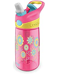 Contigo Striker - Botella antigoteo con boquilla plegable para niños, color rosa, 420 ml