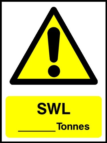 WOOTTON INDUSTRIES LIMITED 20cmx15cm SWL Tonnes Sign (Self Adhesive Sticker) VAT Invoice Available.