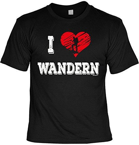 Wander/Kletter-Shirt/Sprüche-Shirt Thema Wandern: I love Wandern für Gipfelstürmer Schwarz