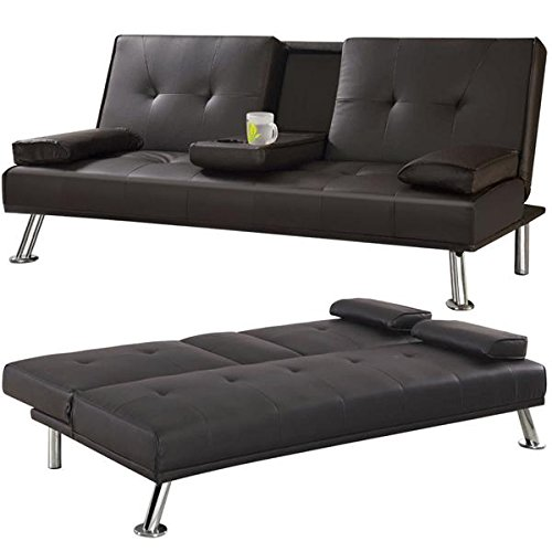 Popamazing 3 Seater Faux Leather Sofa Bed/Sofabed with Cup Holders (Brown)