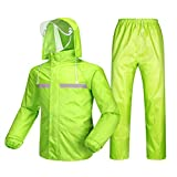Regenbekleidung- Herren/Damen Wasserdicht Set Herren Wasserdicht Regenmantel Jacke Mantel Hose Unterteile Set Anzug Arbeit Camping Angeln (Color : Fluorescent Green, Size : XXXL)