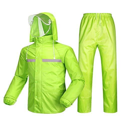 KLEDDP Regenjacke Jacke Hosen Anzug Arbeit Camping Angeln Männer und Frauen wasserdichte Anzug Wasserdichter Regenponcho (Color : Fluorescent Green, Size : XL) (Green Körper Anzug)