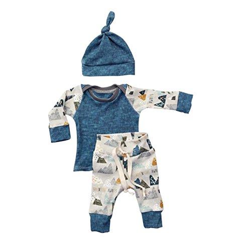 ESHOO Neugeborenes Baby-langes Hülsen-T-Shirt + Hosen + Hut 3pcs Outfits Set (Tragen Casual Hochzeit Herren)