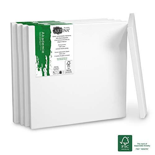 18 X 18 Leinwand (Artina Akademie Keilrahmen FSC®-Zertifiziert 5er Set 18x24 cm - Aus 100% Baumwolle Leinwand Keilrahmen weiß - 280g/m² - verzugsfrei)