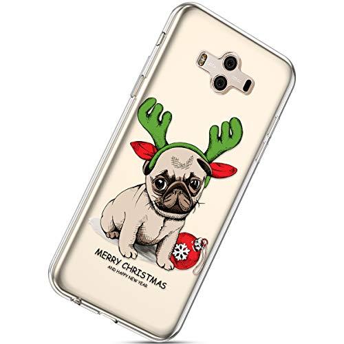 Handytasche Huawei Mate 10 Weihnachten Handyhülle Durchsichtig Schutzhülle Silikon Dünn Case Transparent Handyhüllen Kirstall Clear Case Etui TPU Bumper Schale,Hund