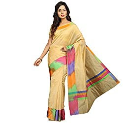 Pavechas Banarasi Silk Cotton Blend Solid Saree - Beige MK3403
