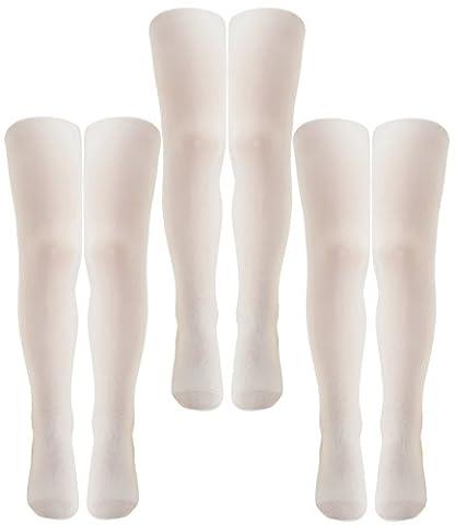 Ewers 3er Pack Mädchenstrumpfhosen Sparpack Feinstrumpfhosen Markenstrumpfhosen Kinder (EW-96010-S17-MA2-901-901-901-110/116) in Weiß-Weiß-Weiß, Größe 110/116 inkl. EveryKid-Fashionguide