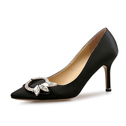 DIMAOL Scarpe Donna Scintillanti Glitter Molla di Seta Caduta Comfort Tacchi Stiletto Heel Punta Strass per Party & Abito da Sera Blu del Vino Nero
